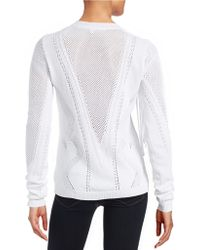 Lord + Taylor Fringe Knit Sweater - White