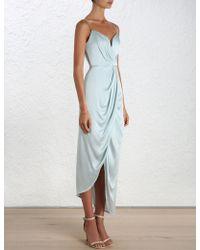 Zimmermann | Sueded Silk Plunge Long Dress | Lyst