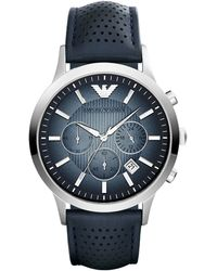 Emporio Armani Stainless Steel and Leather Renato Watch - Lyst