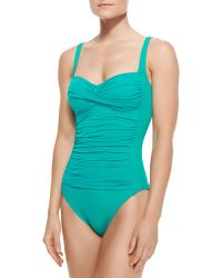 La Blanca Core Ruched Center One Piece Swimsuit - Lyst