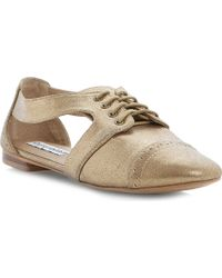 Steve Madden Cori Cutout Oxford Shoes Goldplain Synthetic - Lyst