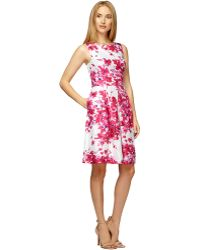 Kay Unger Silk Floral Print Fit And Flare Dress - Lyst