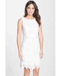 Ellen Tracy Eyelet Lace Popover Dress - Lyst