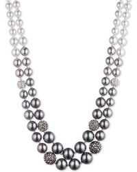 Anne Klein Two-row Ombre Faux Pearl Necklace - Metallic