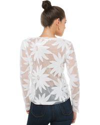 Akira Black Label - Brighter Days White Sequin Floral Top - Lyst