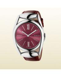 Gucci Horsebit Dark Red Leather Watch - Lyst