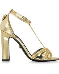 Versace Laminated Sahara Leather Micro Vanitas Heel Sandal - Lyst