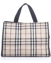 Burberry Pre-owned Nova Check Fabric Medium Tote Bag - Lyst