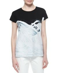 Lafayette 148 New York Hand-Painted Short-Sleeve Tee - Lyst