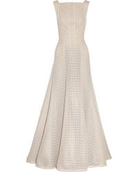 Elie Saab Striped Honeycomb-Mesh And Brushed-Satin Gown - Lyst