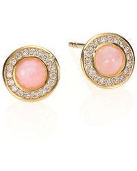 Ippolita Lollipop Pink Opal, Diamond & 18K Yellow Gold Mini Stud Earrings - Lyst