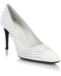 Prada Perforated Patent Leather Pumps - Lyst