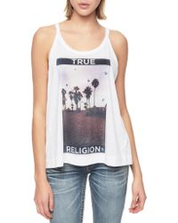 True Religion Palm Tree Womens Relaxed Tank - Lyst