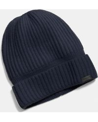 COACH - Cashmere Knit Ribbed Beanie - Lyst