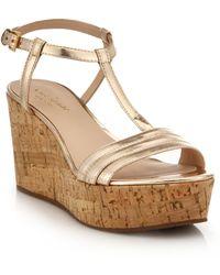 Kate Spade | Tallin Metallic Leather Cork Platform Wedge Sandals | Lyst