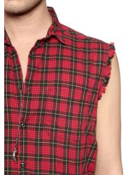 Diesel Sleeveless Checked Cotton Canvas Shirt - Lyst