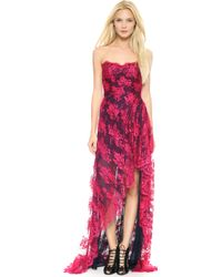 Monique Lhuillier Strapless High Low Gown with Slit Wild Orchid - Lyst