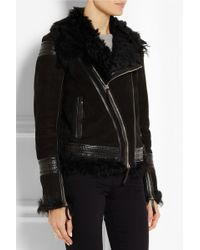 Roberto Cavalli Shearling and Leathertrimmed Suede Jacket - Lyst