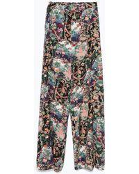 Zara Printed Loose-Fit Trousers - Lyst