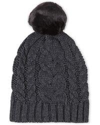 Ivanka Trump - Cable Knit Faux Fur Beanie - Lyst