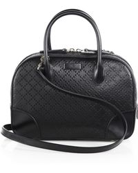 Gucci Bright Diamante-Leather Top-Handle Bag - Lyst