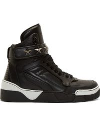 Givenchy | Black And White Leather Tyson High_top Trainers | Lyst