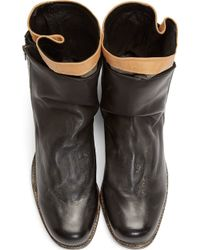 Miharayasuhiro - Black Leather and Tweed Layered Boots - Lyst