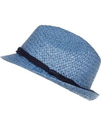 River Island Blue Natural Straw Trilby Hat - Lyst