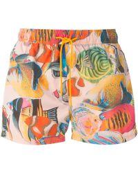 Etro Fish-Print Swim Shorts - Lyst