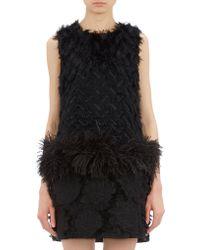 Lanvin Mixed-texture Dropwaist Dress - Lyst