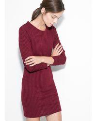 Mango Ribbed Jersey Dress - Lyst