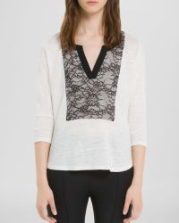 Sandro Shirt Tana Lace Panel - Lyst