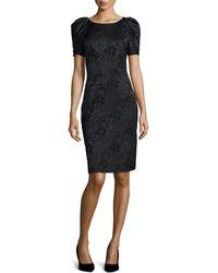 Zac Posen   Pleated-sleeve Floral Jacquard Sheath Dress   Lyst