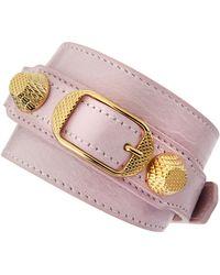 Balenciaga Giant 12 Yellow Golden Leather Single Strap Bracelet Rose - Lyst
