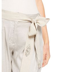 Donna Karan New York Grosgrain Rhinestone Belt with Long Crystal Embellishment - Lyst