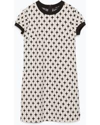 Zara Black Jacquard Dress - Lyst
