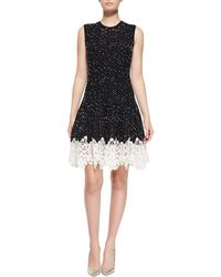 Oscar de la Renta Sleeveless Dotted Lace-bottom Dress - Lyst