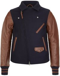 The Brooklyn Circus Leather Sleeve Moto Varsity Jacket - Lyst