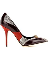 Dolce & Gabbana Bellucci Embellished Leather Pumps With Snakeskin - Lyst
