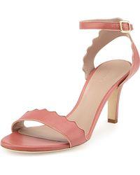 Chloé Scalloped Leather Sandal - Lyst