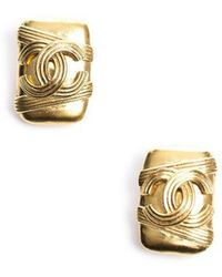 Chanel Preowned Gold Cc Square Clip On Earrings - Lyst