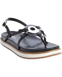 Moncler Black Leather Strappy Silver Plaque Sandals - Lyst