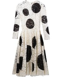 Dolce & Gabbana Polka-Dot Appliqué Lace Dress - Lyst