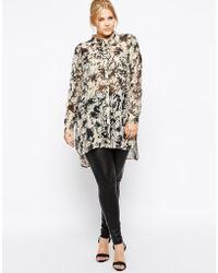 Carmakoma Long Sleeve Rose Print Shirt - Multicolour