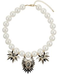Topshop Navette Stone and Pearl Collar  Black - Lyst
