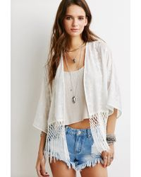 Forever 21 Fringed Floral-Embroidered Kimono - Lyst