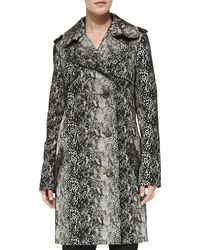 Lanvin Double-Breasted Snake-Print Trenchcoat gray - Lyst