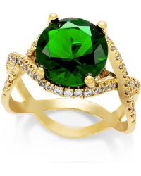 City By City | Gold-Tone Emerald Cubic Zirconia Stone Ring | Lyst