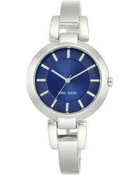 Nine West Silvertone Bangle Bracelet Watch, Nw1797blsb - Metallic