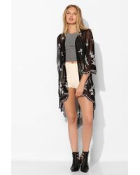Pins And Needles - Night Bloom Embroidered Kimono Jacket - Lyst